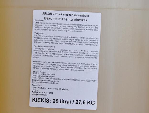 Koncentruotas Tentų Šampūnas ARLON  Truck Cleaner Concentrate 5l/ 25l